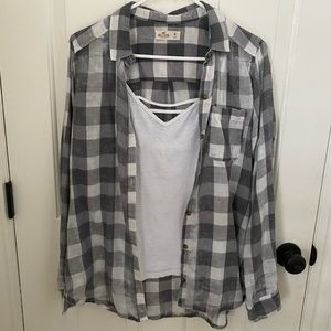 Gray and white flannel/ white tank top